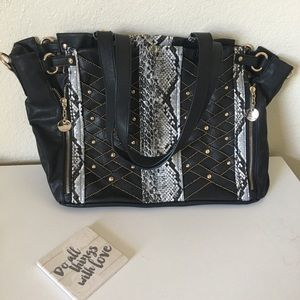 nicole lee bag black faux leather snake print stud